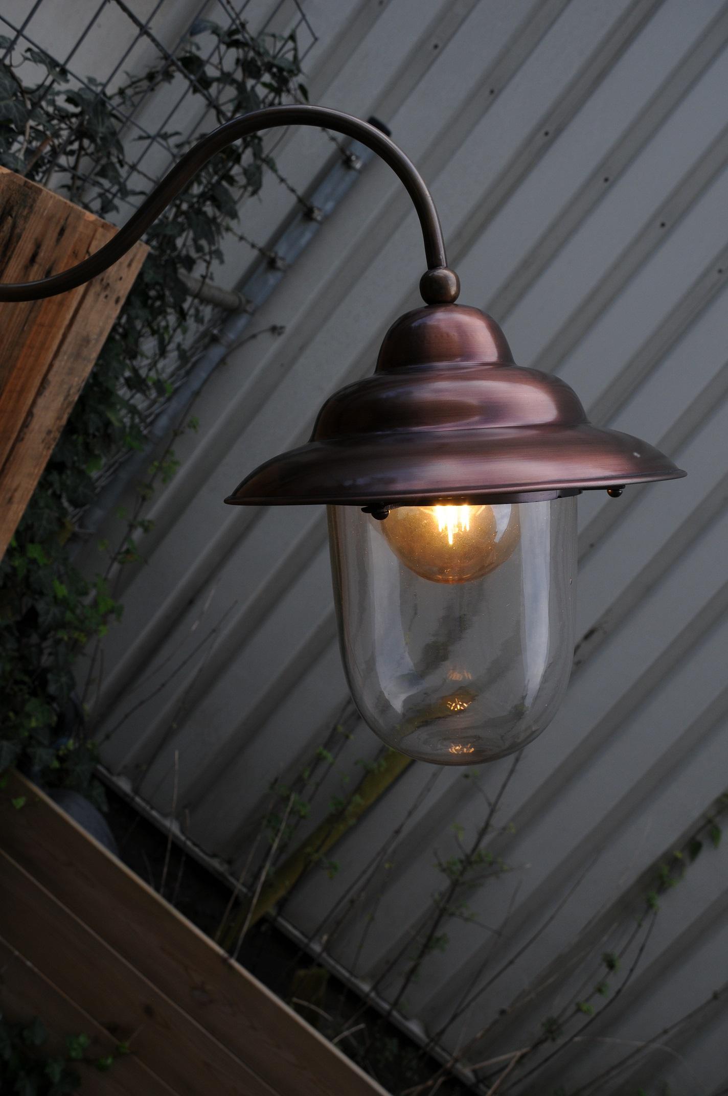 Ongebruikt Retro wandlamp, van koper en messing, mooie zware buitenlamp IJ-87