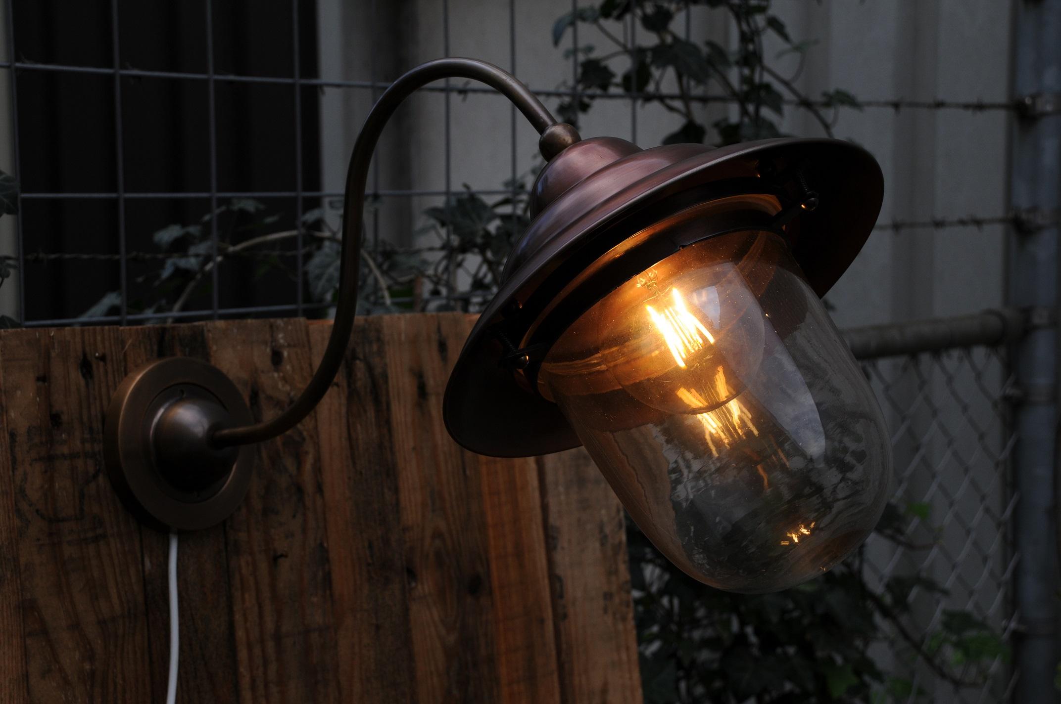 Verwonderend Retro wandlamp, van koper en messing, mooie zware buitenlamp DF-95