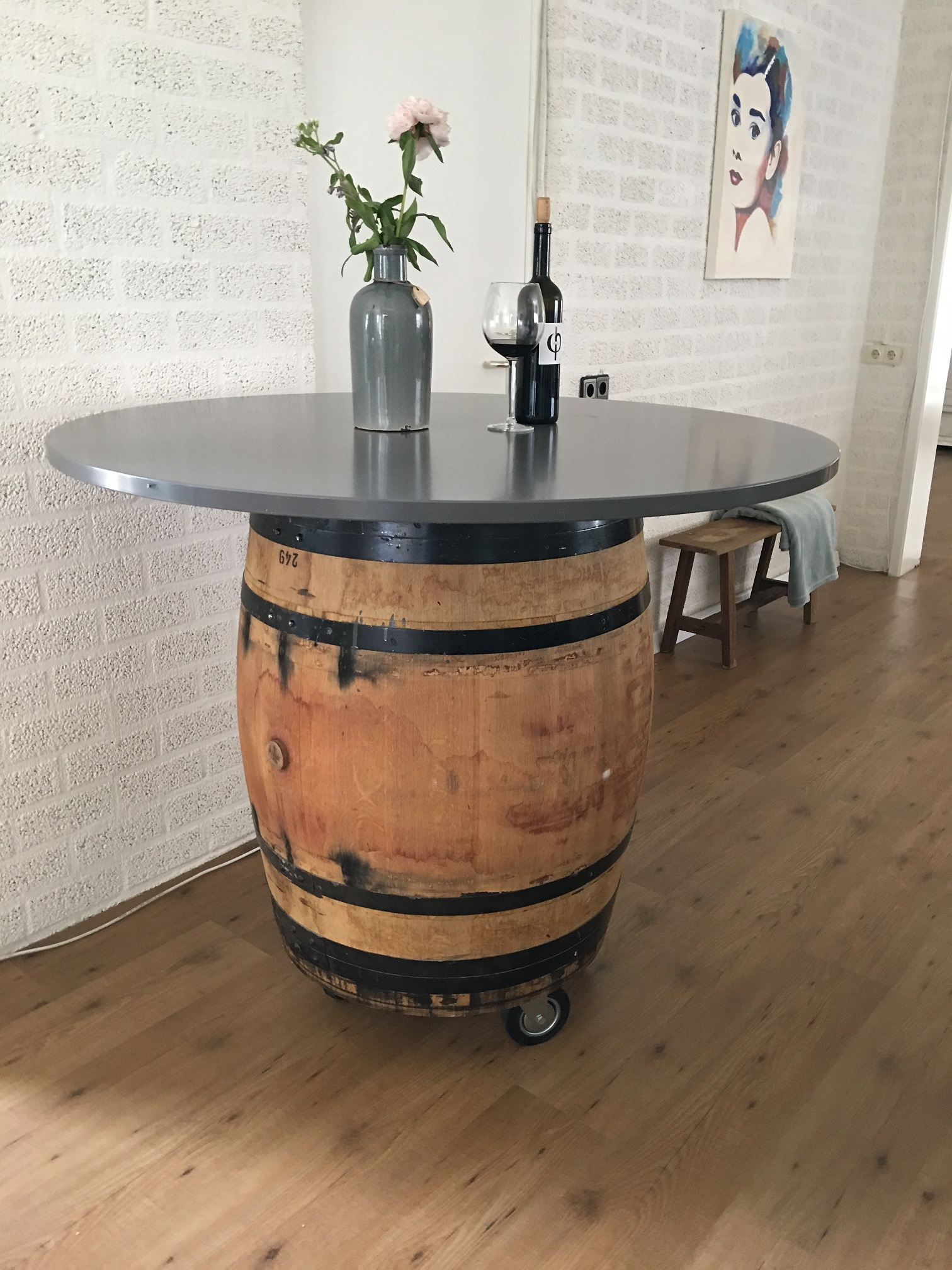 wijnvat hout origineel uit frankrijk als statafel