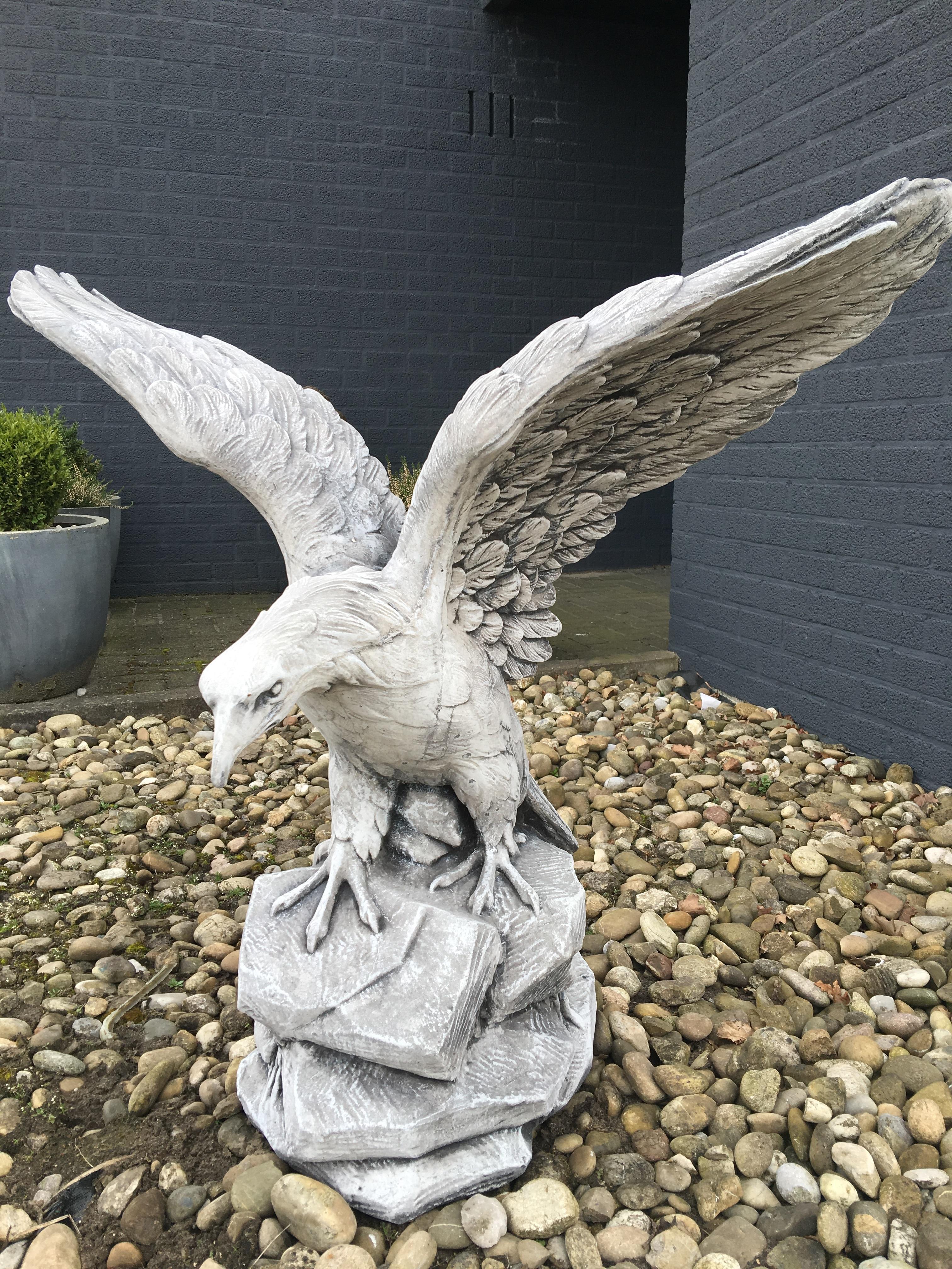 Beelden Dieren Steen.Adelaar Sculptuur Tuinbeeld Gegoten Beton Steen Dieren Tuin