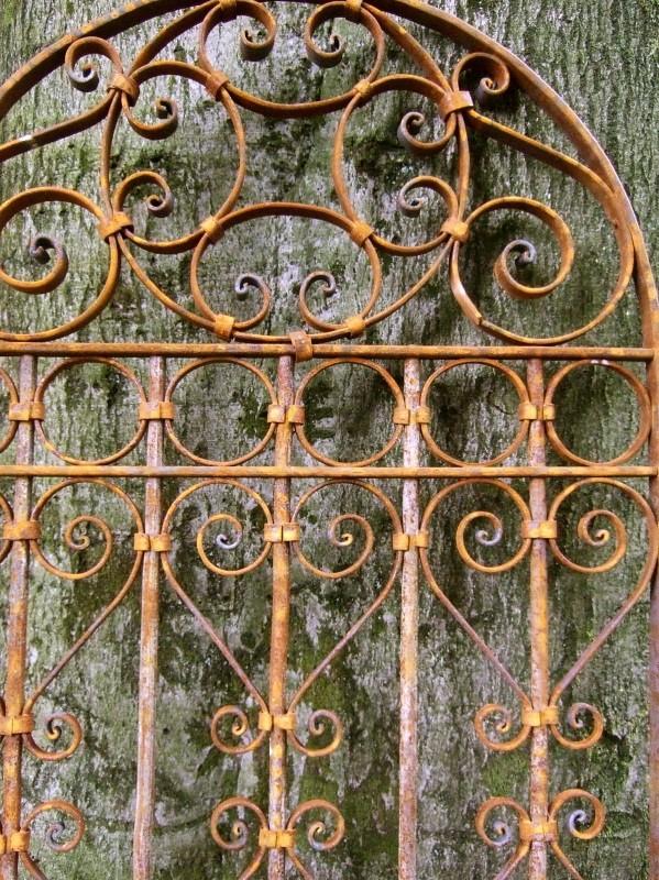 Ongebruikt tags: poorten, poort, tuin, hek smeedijzeren krullen, ijzeren hek WJ-82