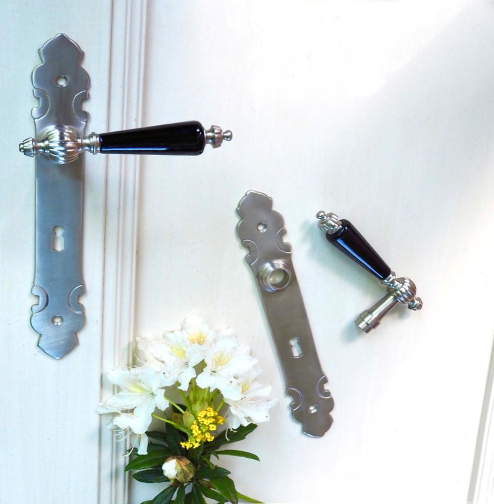 Deurset in geborsteld nikkel met lang schilden bb72 for Klinken voor binnendeuren