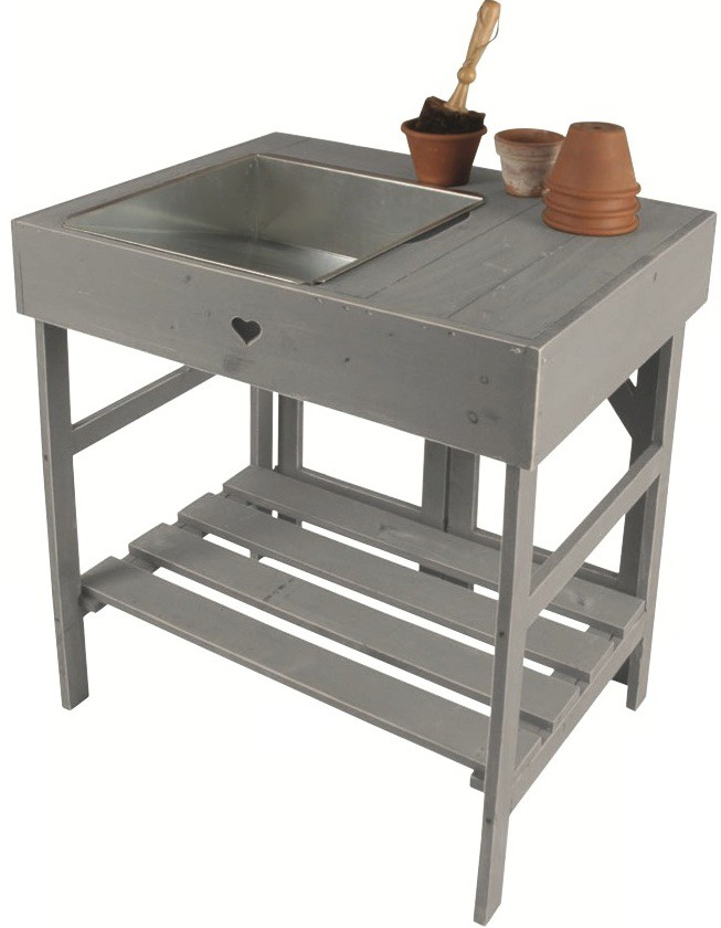 Planten tafel grijs of wit houten countryclassicdesign eu for Houten tuinkast intratuin