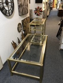 Salon tafel vintage by Pierre Vandel,  messing-glas, Hollywood regency stijl.